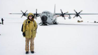 Graduate student Ali Giese at a research center at the apex of the Greenland ice sheet