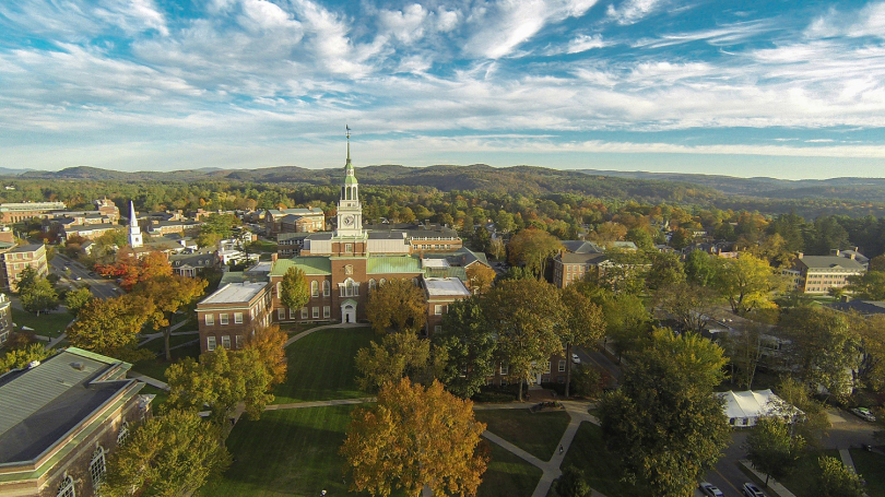 A birds-eye view of campus in the Fall.